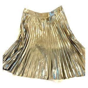 Gold pleated midi skirt NWT